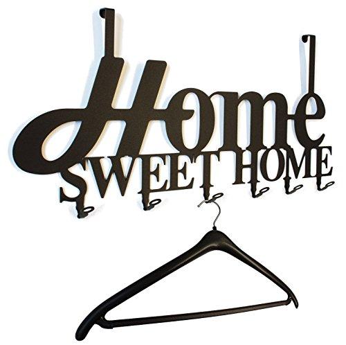 "Türgarderobe, Flurgarderobe "" Home Sweet Home Design "" 58 cm, 6 Haken Metall (schwarz) Hakenleiste, Garderobenleiste, Garderobenhalter, Kleiderhaken, Garderobe"