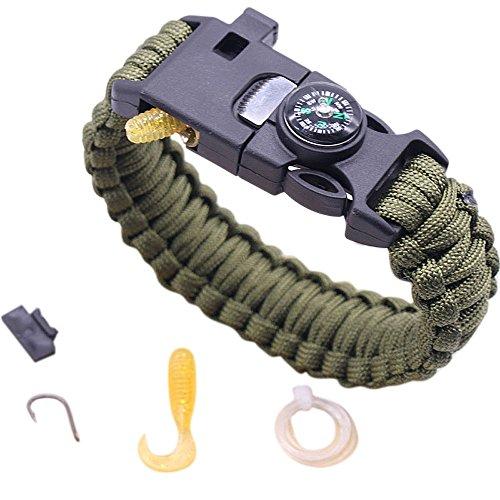 SHOBDW Parachute Survival Armband Kompass Flint Feuerstarter Whistle Camping Fanggeräte Kits (B) (Damen Fanggeräte)
