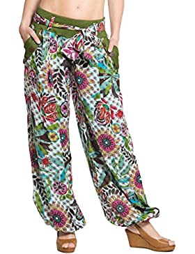ufash Pantalones Bombachos, Diseño Italiano, con Cinturón de Tela, 100% Algodón - Muchos Diseños Diferentes