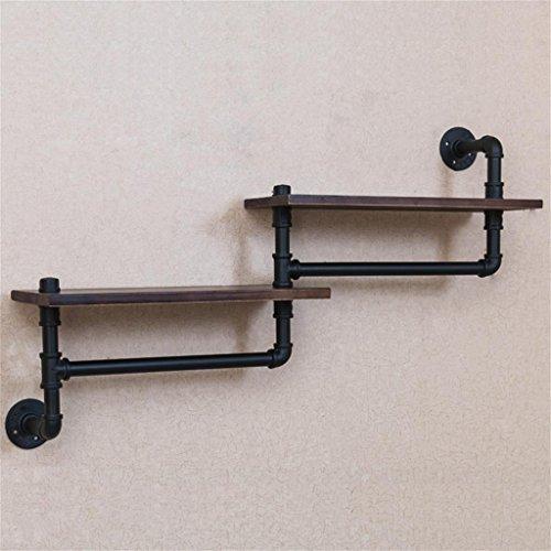 Rétro industrie du fer tuyau d'eau mur salle de bain salle de bain étagère murale en bois massif porte-serviettes