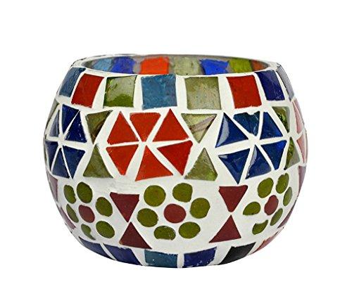 Hnd00661 traditionnel gros mosaïque Bougeoir en verre pour table