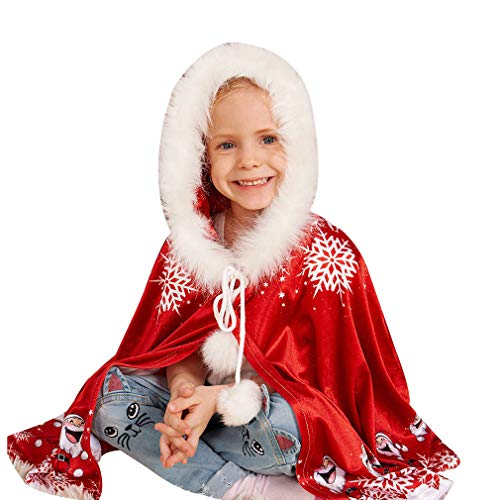 Fangcheng Papa Mama Und Kind Weihnachten Weihnachtsmann Mäntel Mit Kapuze Winter Warme Kostüm SAMT Cape Mantel Familie Passende Weihnachtsfeier Kostüm Rot 3T-6T