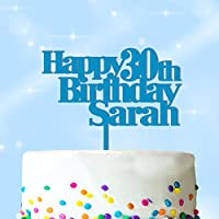 Happy Birthday Cake Topper Personalised with ANY Name and ANY AGE - Personalise with ANY NAME and with ANY AGE - Food Safe Cake Decoration - Made from Strong 3mm Coloured Acrylic - 7 Different Colours