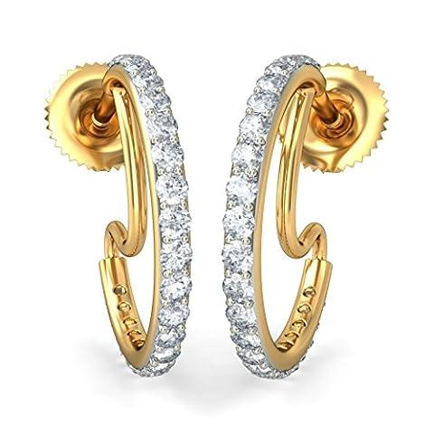 18K Or jaune 0,46CT TW White-diamond (IJ | SI) Boucles d'oreilles créoles