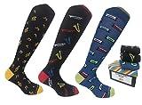 Lucchetti Socks Milano calze calzini uomo lunghe estive, in cotone mercerizzato fresco e leggero 3 paia colorate moda fashion (Set Love Music)