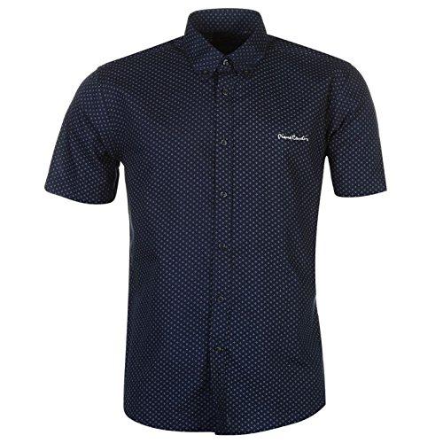 Pierre cardin -  camicia casual  - con bottoni - con bottoni  - maniche corte  - uomo marineblau/weiss geo xxx-large