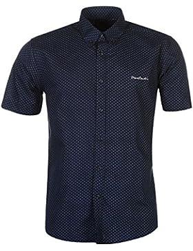 Pierre Cardin–Camicia da uomo a maniche corte con fantasia e chiusura a bottone