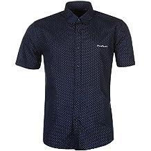 Pierre Cardin - Camisa Casual - con Botones - con Botones - Manga Corta -  para 6e72ce786c2