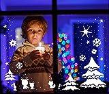 Fensterbild Fensteraufkleber Weihnachten selbstklebend Fensterdeko Weihnachtsdeko Sterne Elche Rentiere Schneeflocken weiß M1230 ilka parey wandtattoo-welt®