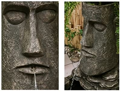Easter Island Head Solar Water Feature and Planter with LED Lights PC601