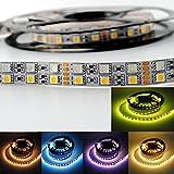 INDARUN 5M Zwei Reihen LED Streifen Lichterkette (RGB+Warmweiß) 600 LEDs (SMD 5050) LED Band LED Strip Lichtstreifen [Energieklasse A]