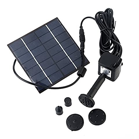 Solar Pump & Fountain Kit, Pompe à Eau Avoir 4 Différentes Buses Panneau Solaire pour Jardin Fontaines d'étang, 180 L / h; Hauteur 0,6 m; 1,4 Wtaines d'étang, 180 L / h; Hauteur 0,6 m; 1,4 W
