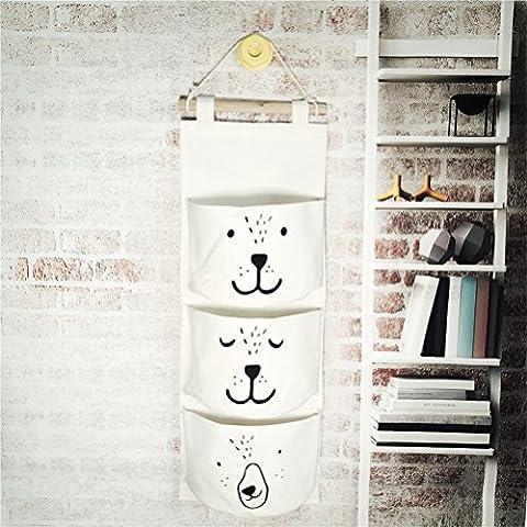 Inwagui Coton et Lin Sac de rangement Mural Sac de mur Pendaison Placard Organisateur Storage Bag Mur portes suspendues de Stockage-Blanc