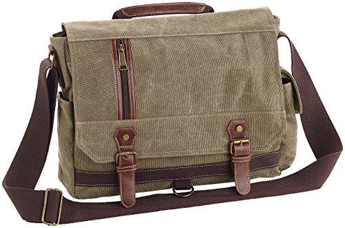 Xcase Messenger Bag: Geräumige Canvas-Retro-Umhängetasche für Notebooks bis 33 cm/13