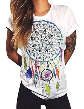 Azbro Mujer Moda Camiseta Mangas Cortas Estampado Atrapasueños de Estilo Suelto