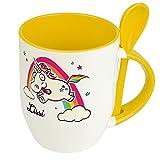 Löffeltasse mit Namen Lissi - Motiv Verrücktes Einhorn - Namenstasse, Kaffeebecher, Mug, Becher, Kaffeetasse - Farbe Gelb