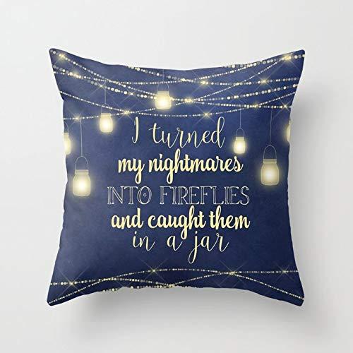 Custom Pillow Covers Dekorativer Kissenbezug aus weicher Baumwolle für den Außenbereich, für Sofa, Schlafzimmer, Zuhause, Büro, Auto, Dekoration, quadratisch, 45,7 x 45,7 cm Nightmares Into Fireflies