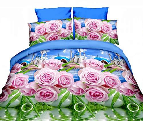 ZQYY 3D Bettbezug, Luxuriös Bettwäsche-Set von 4, Rose Serie, Mikrofaser, Einschließlich:Bettbezug200*230cm*1, Kissenbezug 48 * 74cm*2, Bettlaken250*250cm*1