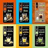 King Cup, Sconto MultiBox in Capsule Compatibili Nespresso X2 Caffè al Ginseng , X1 Matcha Green Tea , X1 Golden Milk , X1 Zenzero e Limone , X1 Caffè Biologico Faritrade , 60 capsule