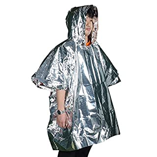 Emergency Foil Blanket Rain Poncho - Unisex Adult Rain Coat with Hoods Windproof and Keep Warm, Perfect for Hiking, Outdoors, Camping