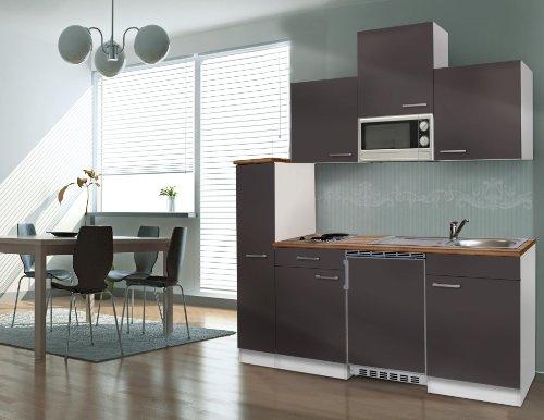 respekta Single Küche Küchenzeile Küchenblock 180 cm weiß grau APL Butcher Nussbaum Mikrowelle Ceran KB180WGMIC
