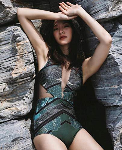 DFDONG Bikini Siamese Nuovo Costume da Bagno Copertura Femminile Pancia Sottile Piccolo Torace Modello Sexy Maglia Costume Intero Spiaggia Primavera Calda @ XL