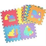 SZZGCarpet10pcs/set Animal Pattern Foam Puzzle Kids rug Carpet Split Joint Baby Play Mat Indoor Soft Activity Puzzle MatsYellow A