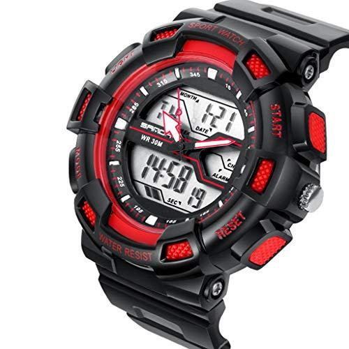 Männer Armbanduhr Trend Mode Digitaluhr Männliche Student Wasserdichte Uhr Schwimmen Digitale Sportuhr Bergsteigen Ski Uhr Outdoor Motion Watch,Red