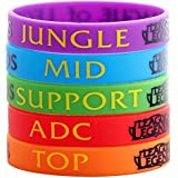 League of Legends Top Jungle Adc Mid Support Unisex Silicone Bracelet Hand Wristband 6pcs Random Color