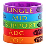 exo.nu - Braccialetto in Silicone League of Legends con Scritte Top, Jungle, ADC Mid Support, 6 Pezzi, Unisex, Colori Casuali