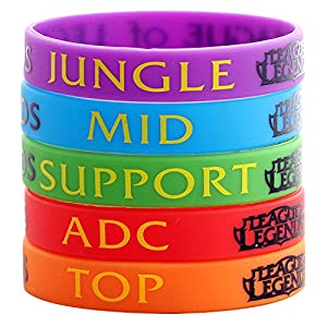 Silikon-Armbänder, Motiv: League Of Legends Top Jungle ADC Mid Support, Unisex, zufällige Farbe, 6 Stück