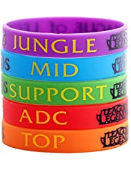 League Of Legends Top Jungle ADC Mid Support Bracelet en silicone unisexe bracelet à la main Lot de 6 Couleur aléatoire