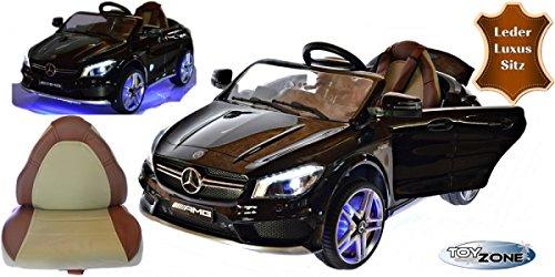 Kinderfahrzeug 12V Kinder Elektro Auto Mercedes Kinderauto Elektrofahrzeug AMG CLA 45 Ledersitz 2,4 GHZ schwarz Steuerung