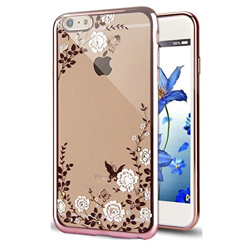 iPhone 6S Plus Hülle Silikon,iPhone 6 Plus Hülle Glitzer,iPhone 6S Plus Rosa Gold Mirror TPU Bumper Case Soft Silikon Gel Schutzhülle Hülle für iPhone 6 Plus 5.5 Zoll,EMAXELERS iPhone 6S Plus weiche S Butterfly Flower Series 4