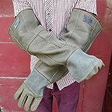 Gauntlet Gloves Verdicktes Double-Layer Gardening Gauntlet Pruning Tierpflege Kratzbiss Einfrierbeständig Anti Burning Arbeitshandschuhe Besonders dickes Leder