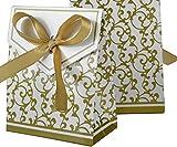 Lot de 5Carton cadeau emballage ~ Ranken or ~ 8,3x 6,7x 3,7cm, par ex. pour cadeau de Noël, bijoux, biscuits...