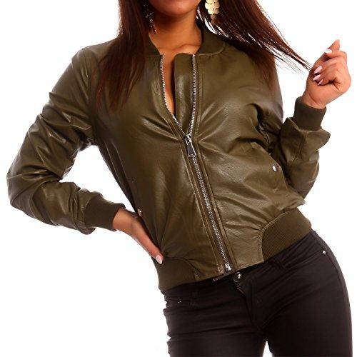 Young-Fashion - Veste de sport - Blouson - Uni - Manches Longues - Femme Kaki