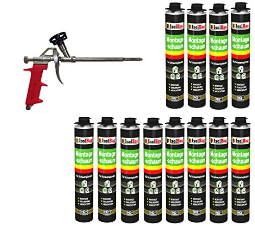 SET Pistolenschaum 12 Dosen 750 ml Montageschaum 1K Bauschaum PU-Schaum + 1 Schaumpistole