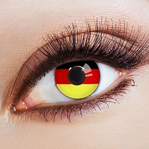 Karneval-Klamotten Fußball Klamotten Jahreslinsen WM Deutschland Fan-Artikel Farblinsen Farbige Kontaktlinsen schwarz rot gold WM Deutschland 2018