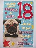 """Biglietto di auguri spiritoso per 18° compleanno con immagine di un carlino e scritta in inglese """"You always were so sensible & smart"""""""