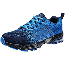 Zapatillas Deporte Hombre Zapatos para Correr Athletic Cordones Air Cushion 3cm Running Sports Sneakers Negro Negro-Blanco Azul Rojo Azul 41