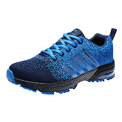 Zapatillas Deporte Hombre Zapatos para Correr Athletic Cordones Air Cushion 3cm Running Sports Sneakers Negro Negro-Blanco Azul Rojo Azul 40