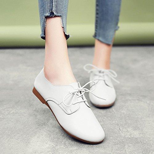 HWF Chaussures femme British Style printemps en cuir plat chaussures de sport College Womens Shoes chaussures simples étudiants blanc ( Couleur : Blanc , taille : 35 ) Blanc