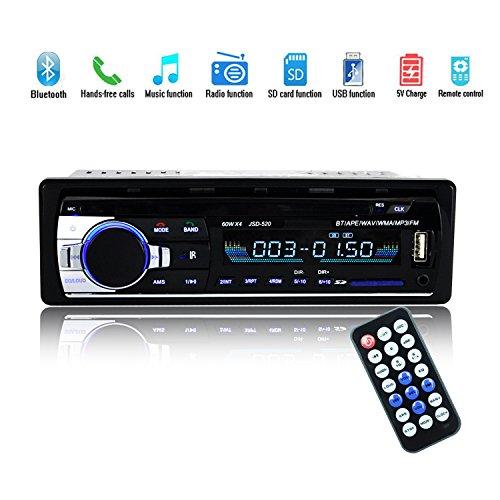 Bluetooth Autoradio,SUAVER Single-Din Auto Audio Stereo FM Radio, Auto MP3 Player USB/SD/AUX/Freisprecheinrichtung mit Fernbedienung,Digitaler Medienempfänger (JSD-520) - 520 Bluetooth