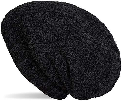 styleBREAKER Unisex Chenille Beanie Mütze mit Flecht Muster und Fleece Futter, Winter Slouch Longbeanie 04024159, Farbe:Schwarz -