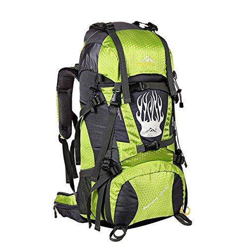 55+5L Hiking Rucksack interner Frame Bergsteigen Tasche Multifunktions-Nylon wasserdicht Leichtbau Rucksack für Bergsteigen Reisen Klettern und andere Outdoor Sports H75 x L37 x T24cm Green