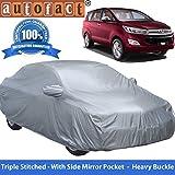#5: Autofact Premium Silver Matty Triple Stitched Car Body Cover with Mirror Pocket for Toyota Innova Crysta