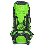 Zaino da trekking leggero 75L Zaino da trekking leggero impermeabile per lo sport all'aria aperta Viaggi Ciclismo Arrampicata Alpinista Arrampicata per donna uomo-green-75L