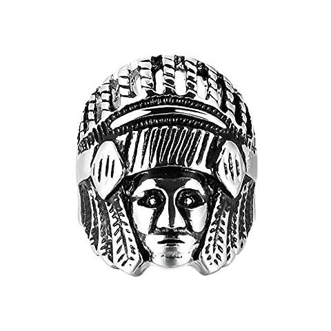 Adisaer Ring Herren Edelstahl Stammeshäuptlinge KopfSilber Schwarz Ringe Größe 65 (20.7) Für Männer Ring Gothic