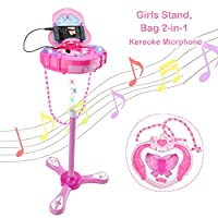 WISHTIME Kids Karaoke Microphone Musical Toys Kids Pink Karaoke Adjustable Stand & Shoulder Bag With External Music Function & Flashing Lights Toy for Kids Children Girls